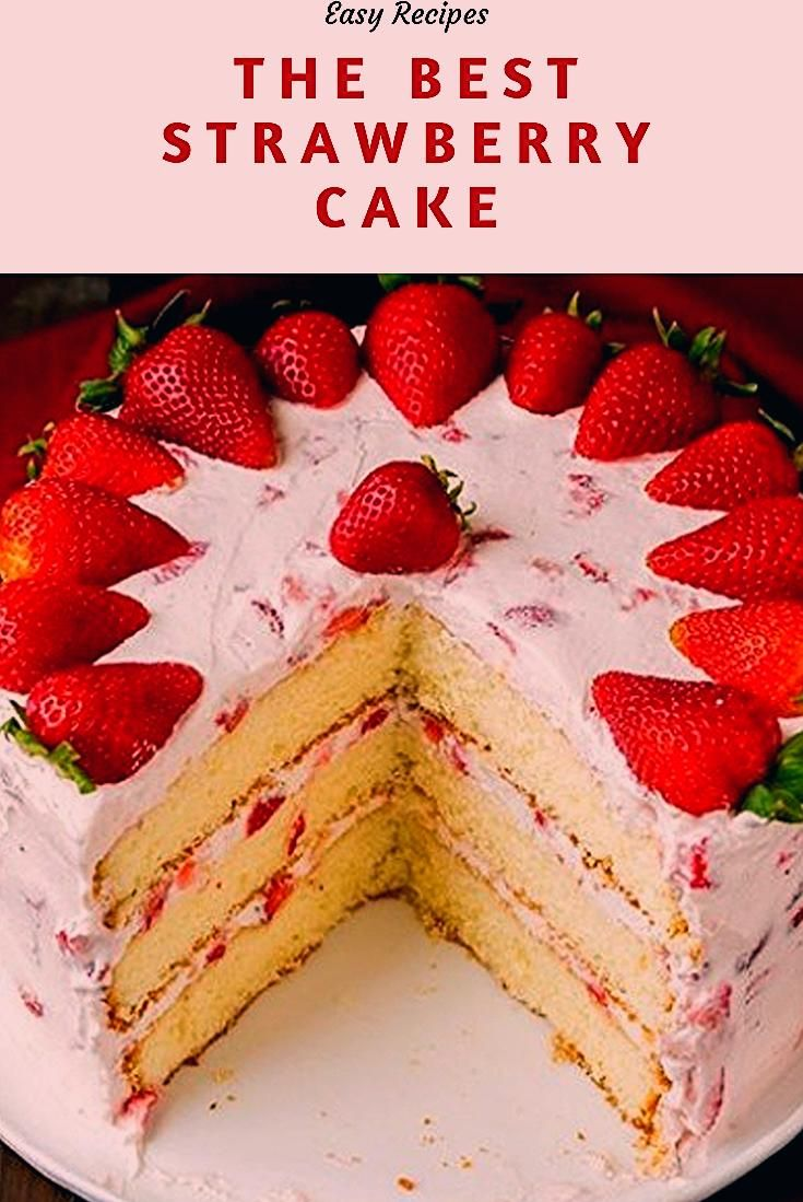 The only Strawberry Cake Recipe you will ever need! A fluffy vanilla cake is loaded with sweet strawberries and rich cream cheese whipped cream.  The perfect dessert recipe for any celebration or get together.