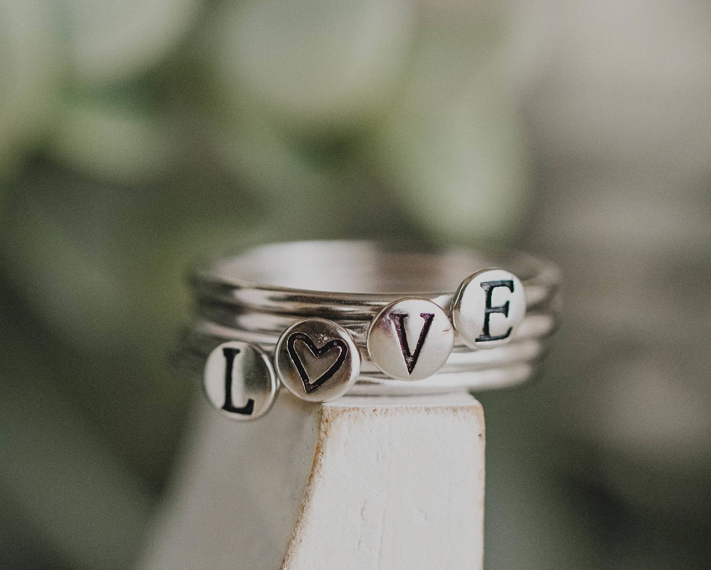 Stackable initial rings sterling silver stack ring stacked rings sterling silver stack ring stacked rings personalized gift perfect for buycottarizona