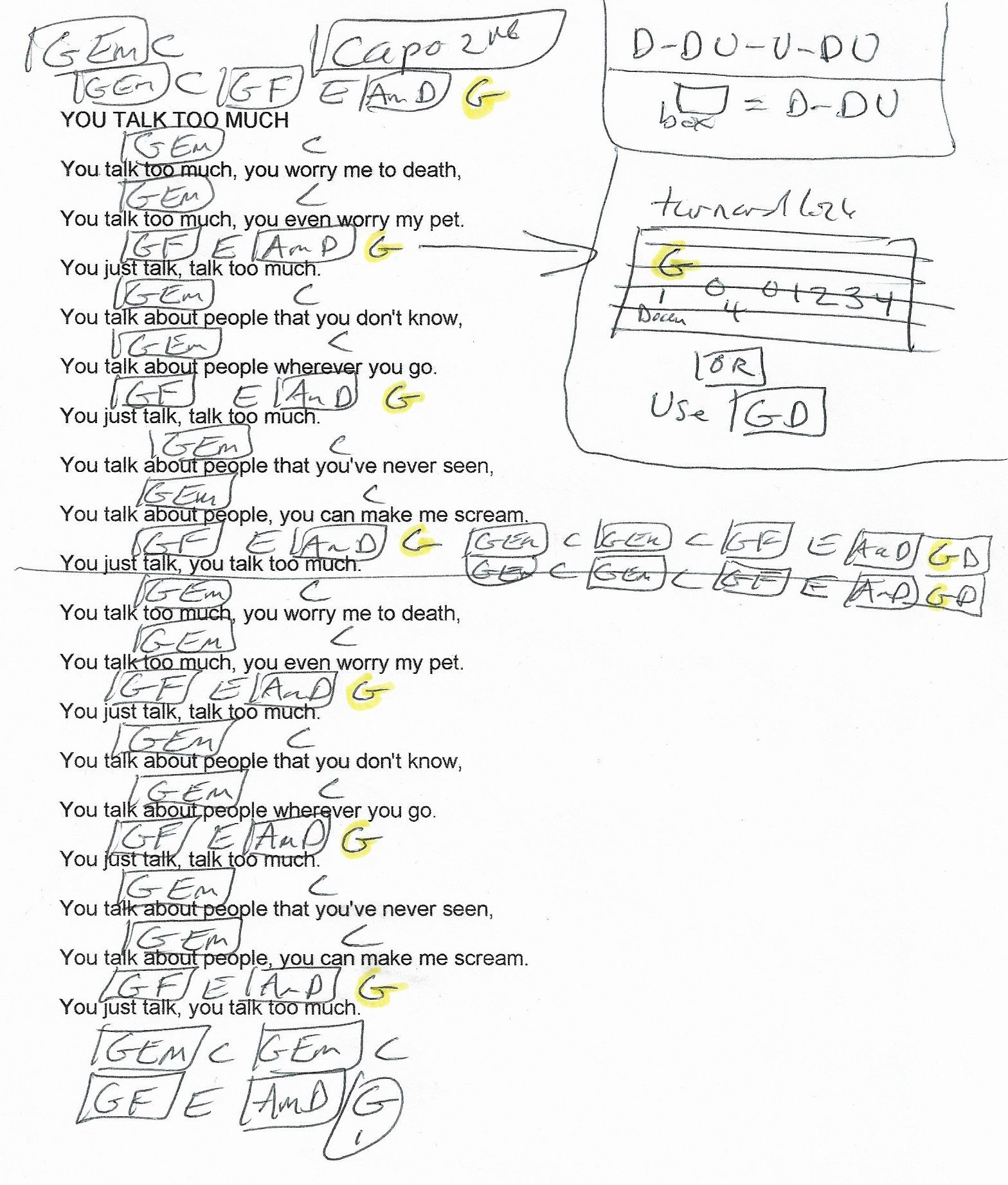 You Talk Too Much Joe Jones Guitar Chord Chart Capo 2nd Fret
