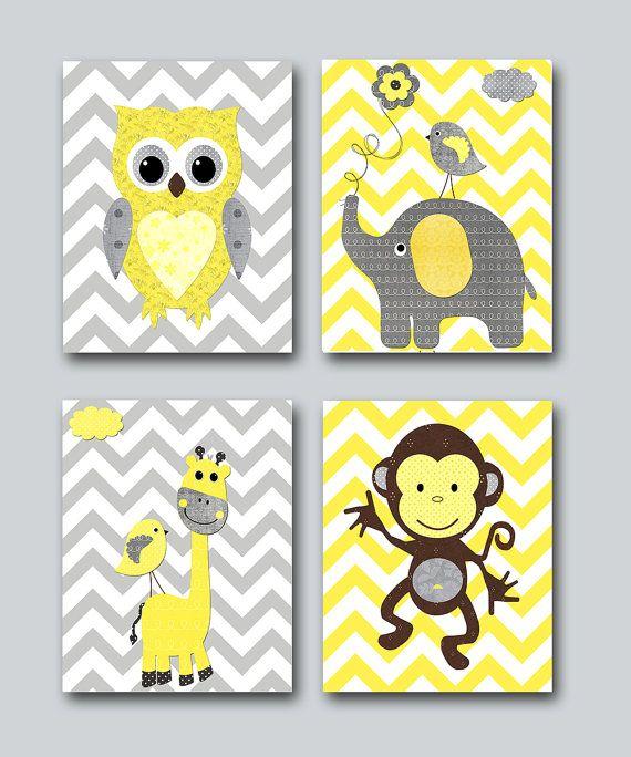 Baby Girl Nursery Print Baby Room Decor Monkey Kids Wall Art Owl ...