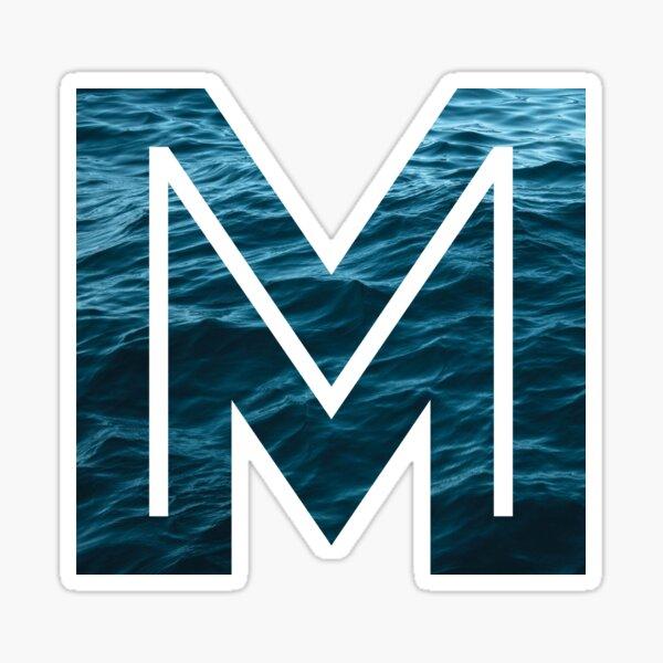 Letter M Ocean Stickers Lettering Watercolor Pattern Sorority Stickers