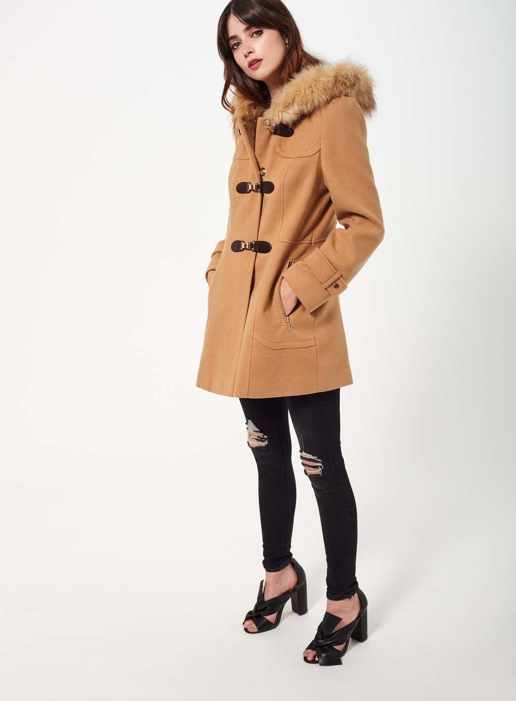 Camel Toggle Duffle Coat - Coats & Jackets - Clothing - Miss ...