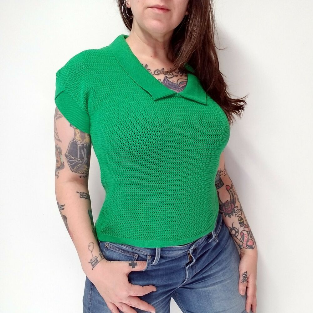 c96af2f764 vtg 80s CEMBRA Kelly Green Cotton V-neck Sweater Shirt Open Knit Womens S
