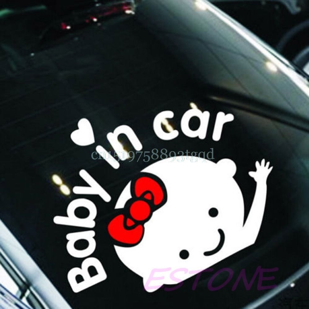 "/""Baby In Car/"" Waving Baby on Board Safety Sign Cute Car Decal Vinyl Sticker TO"