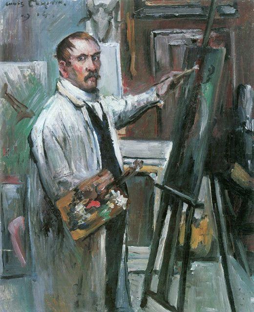 Creativity and Art Expression: Lovis Corinth (German, 1858-1925): Selbstporträt im Atelier, 1914 – (Oil on panel, Bayerische Staatsgemäldesammlungen, München)