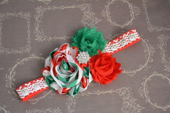 Christmas Santa Claus Shabby Chic Headband by SewCuteBoutiqueBow