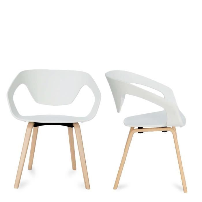 CHAISE Lot de 2 chaises design scandinave Danwood Couleur Blanc ...