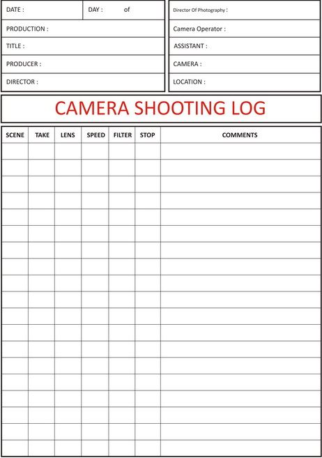 Camera Shooting Log Camera Shooting Log Sheet  Film Knowledge