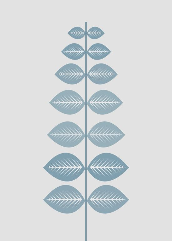 Scandinavian leaf (pale blue and light gray) Art Print