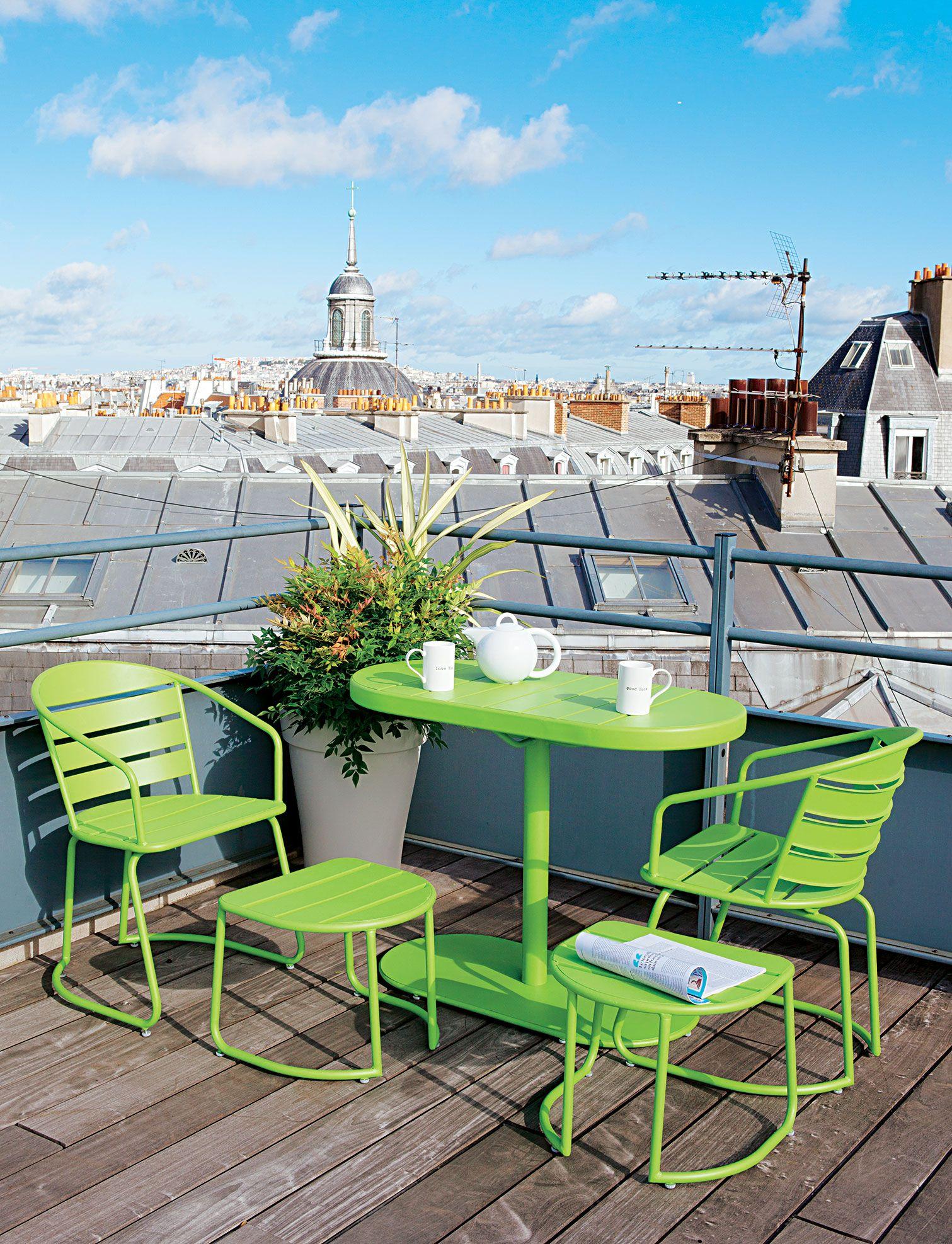 Ensemble #balcon vert en métal époxy #jardin | TRUFFAUT - Mobilier ...