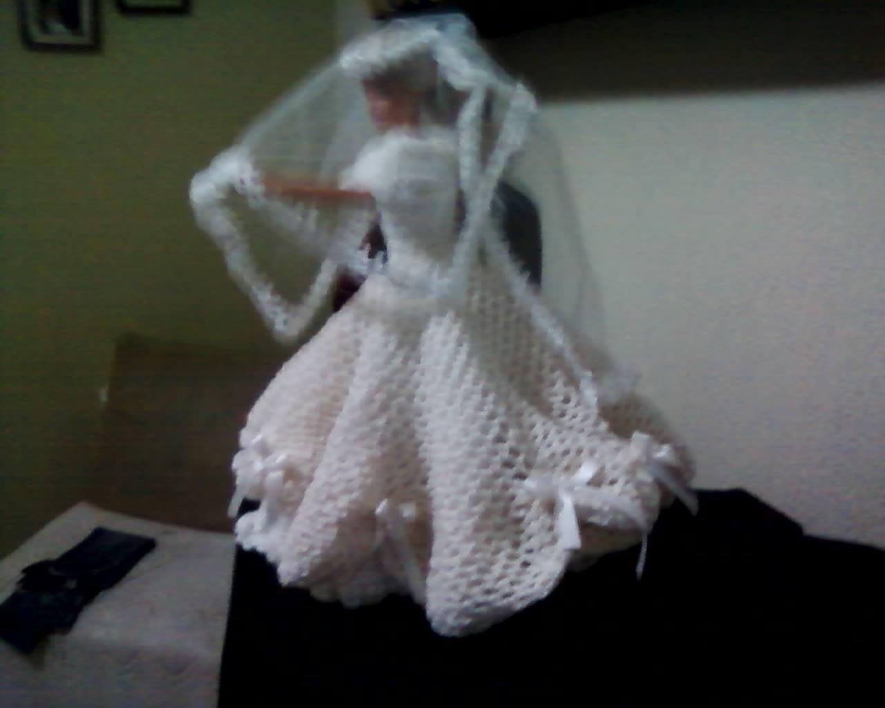 Vestido de noiva em croche barbie