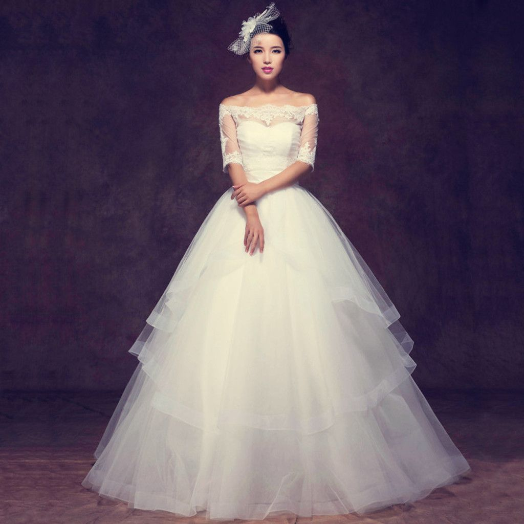 Gorgeous off shoulder half sleeve ball gown see through lace wedding