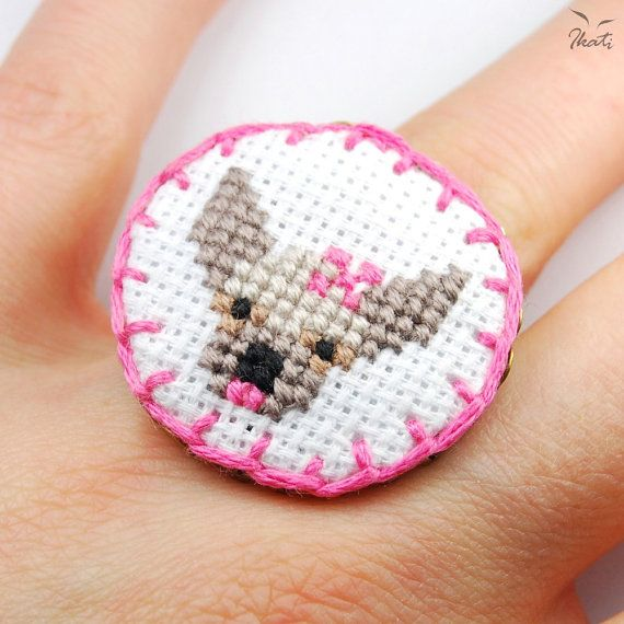 Embroidery CHIHUAHUA GIRL Adjustable Ring  Cross by IkatiWorks, $33.00