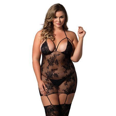 6f328cc3abb Leg Avenue Women s Lace Cage Strap Suspender Body Stocking