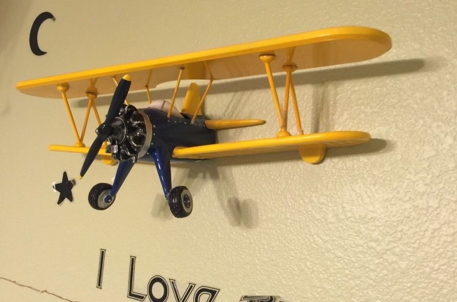 Yellow Air Force Resin Bi-Plane Propeller Airplane 3D Wall Decor ...