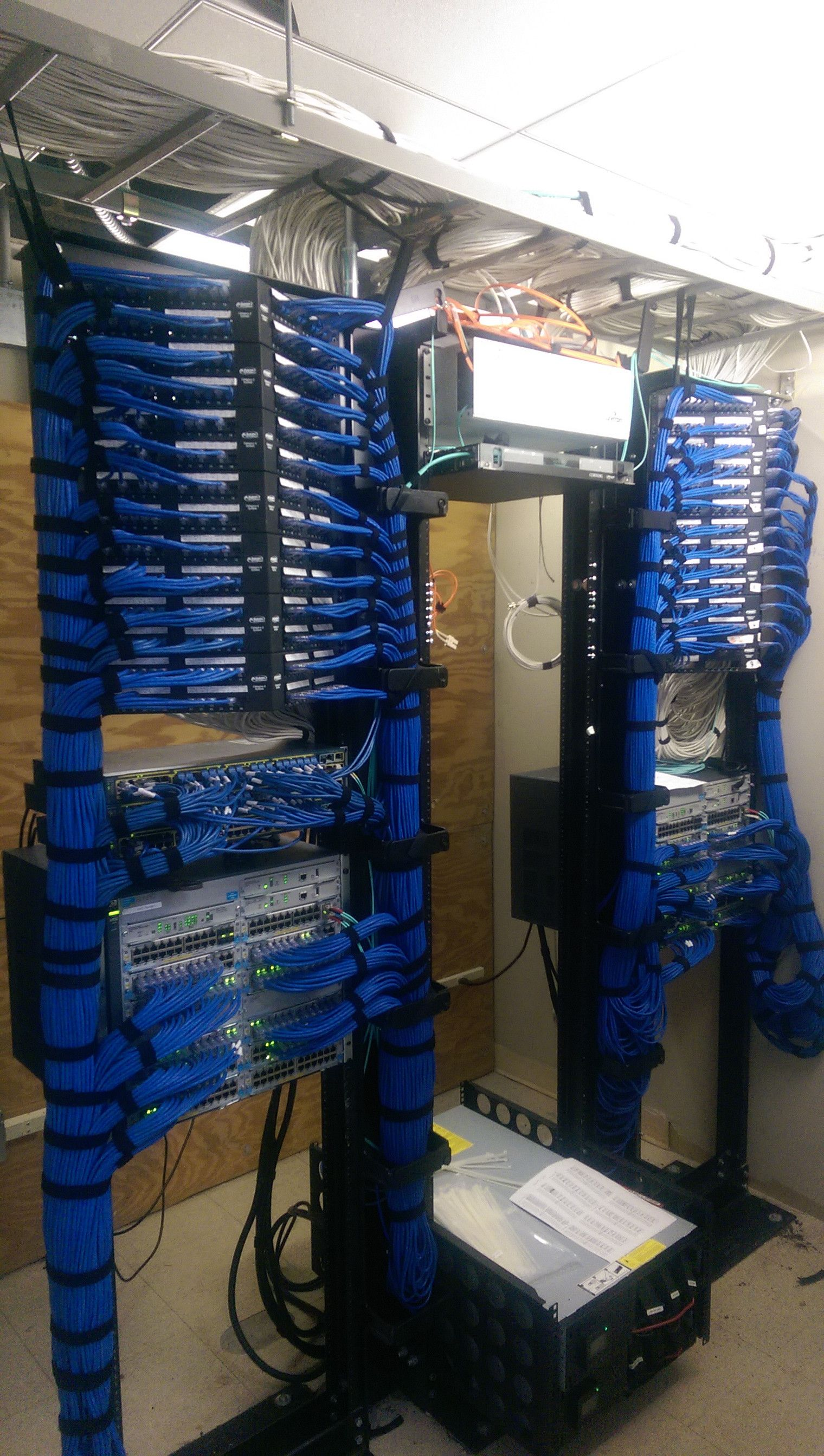 Cable Job Management Structured Cabling It Network Data Wiring Panel Running A Cisco Switch Cabinet Into Patch Panels Servers Between The Racks