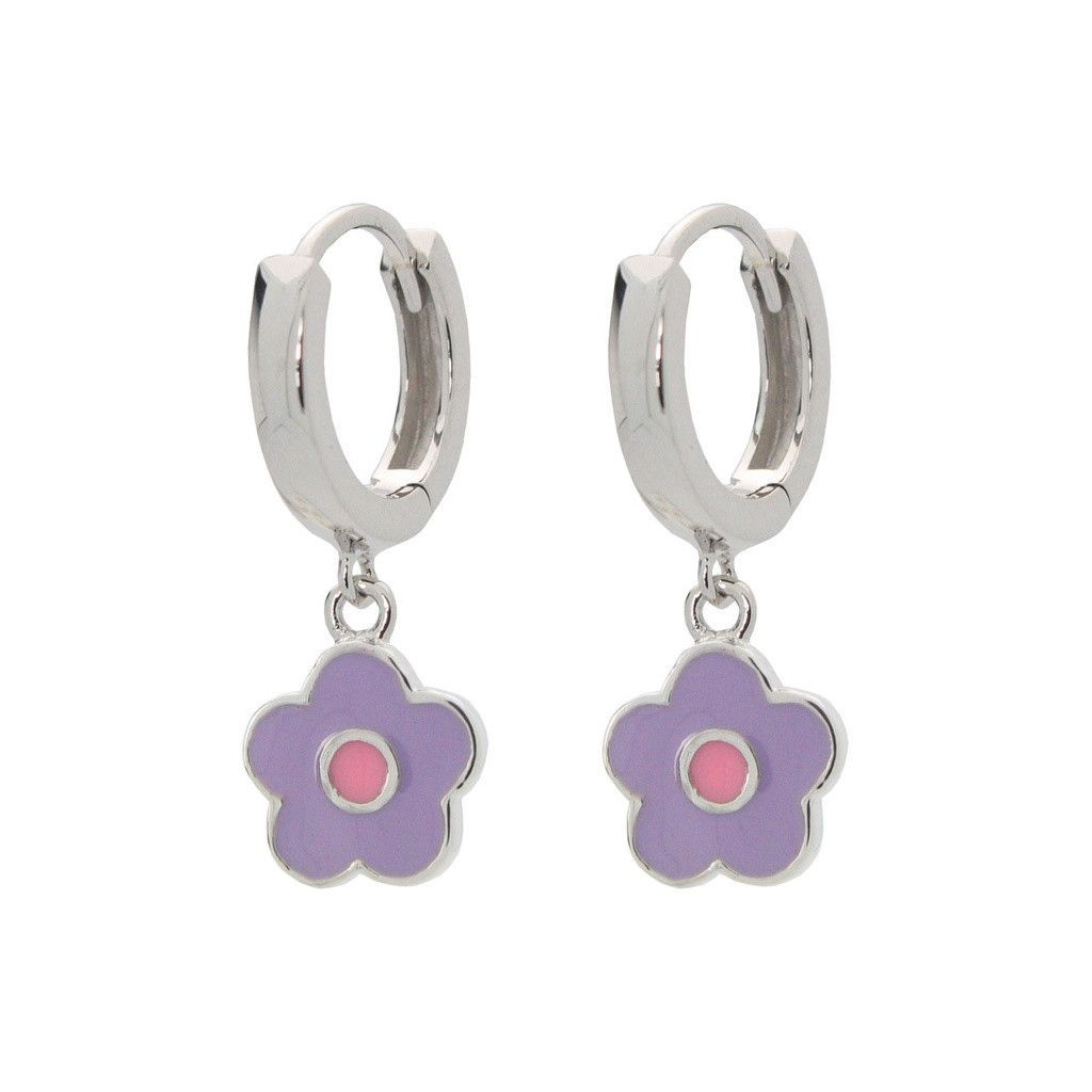 Sterling Silver Pink Enamel Kids Flower Dangle Earrings