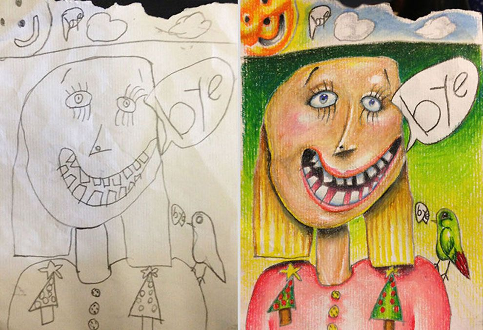 This dad coloured-in his kids\' art to kill time on business trips ...