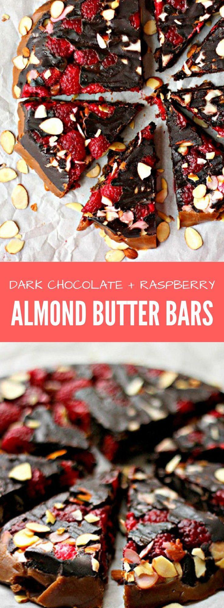 Dark chocolate raspberry almond butter bars recipe
