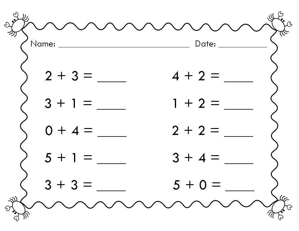 FREE Simple math worksheets as well as a doubles math sheet and a – Math Plus Worksheets