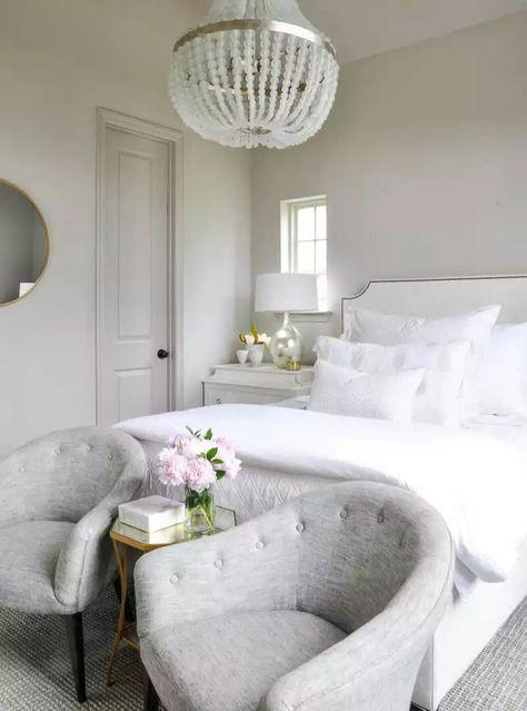 Master bedroom ideas. Light Griegel walls, white linens, neutral ...