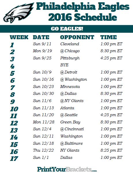 Printable Eagles Schedule 2019 : printable, eagles, schedule, Printable, Philadelphia, Eagles, Football, Schedule, Schedule,, Tampa, Buccaneers,