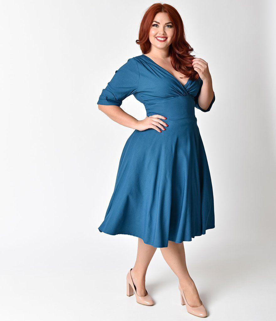 4becbd649bae Unique Vintage Plus Size 1950s Teal Delores Swing Dress with Sleeves ...