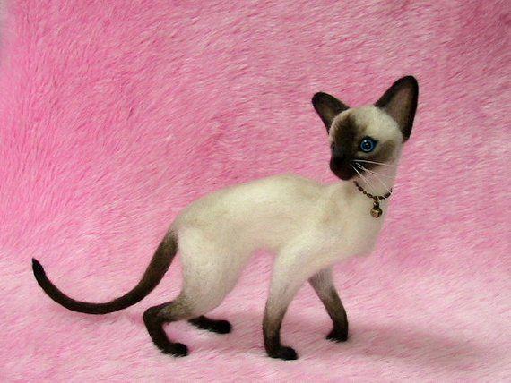 Needle Felted Siamese Cat: Miniature Needle Felt Cat, Needle Felting #needlefeltedcat