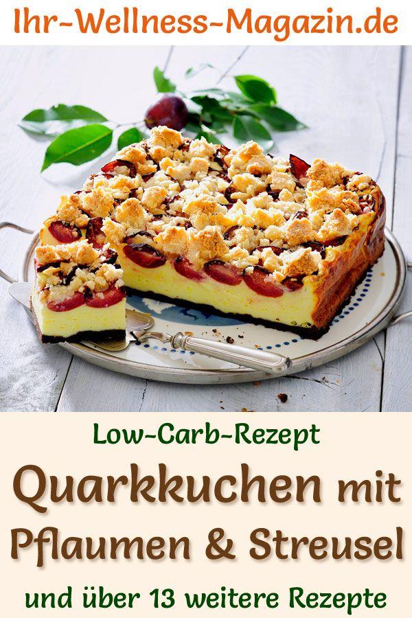 Pastel de quark de ciruela baja en carbohidratos con crumble – receta de tarta de queso sin azúcar