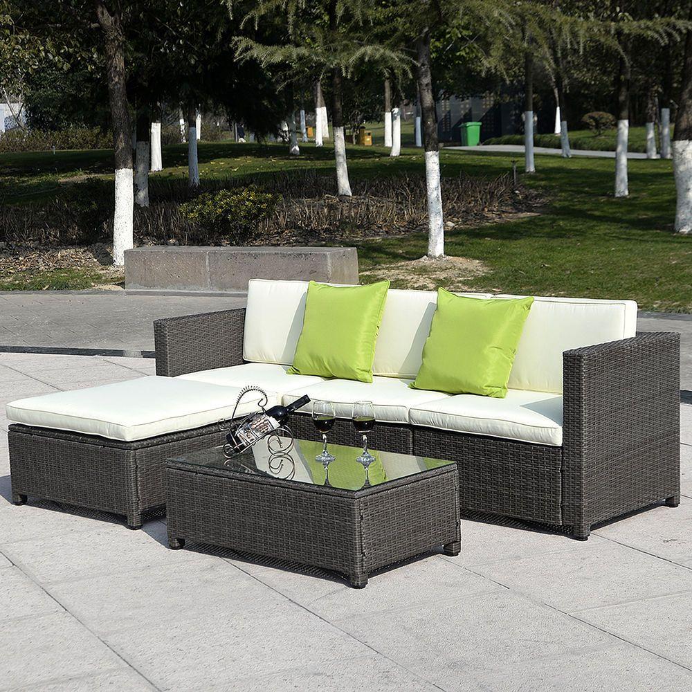 5pc Outdoor Patio Sofa Set Furniture Pe Wicker Rattan Deck Couch Gradient Brown In Home Garden Yard Garden Patio Sofa Set Patio Couch Patio Sofa