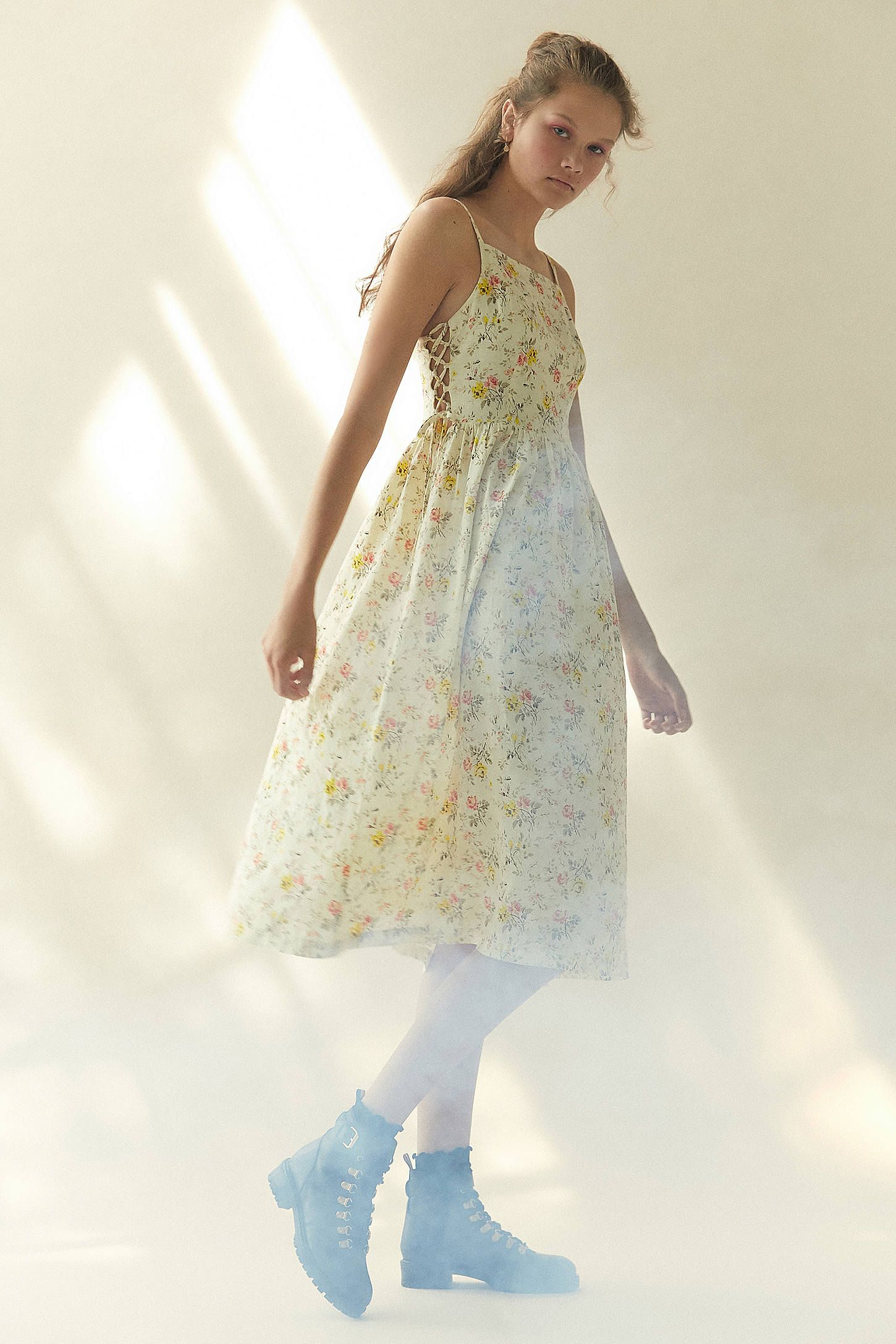 8d41195a7a Laura Ashley   UO Lace-Up Midi Dress in 2019