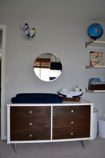 Baby Boy Nursery Vintage Mid Century Modern Dresser As Changing Table Diaper Caddy Round Mirror From Ikea Diy Globe Sbook Paper Mobile