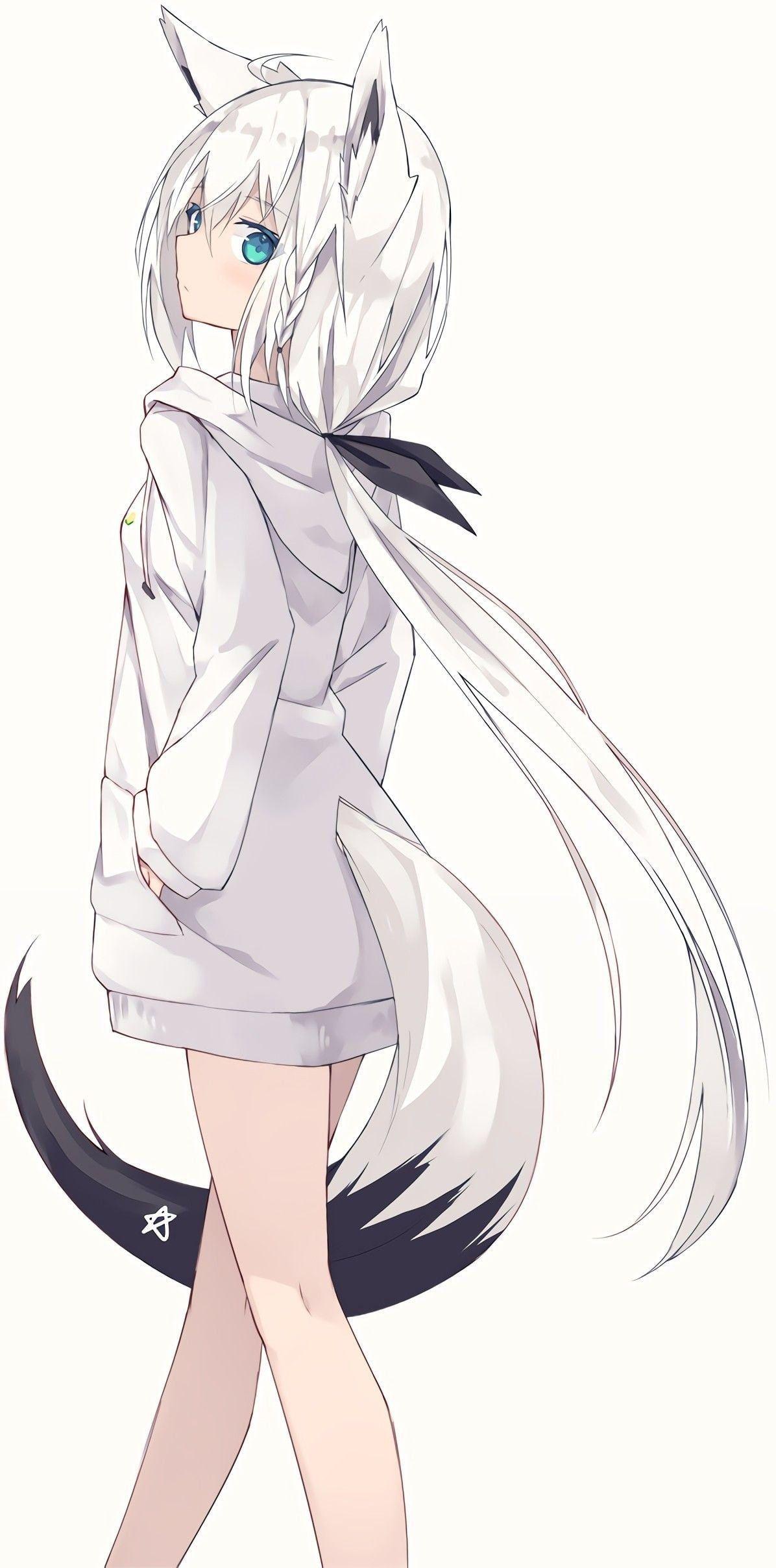 Photo of HD wallpaper: anime, anime girls, portrait display, vertical, neko ears, simple background