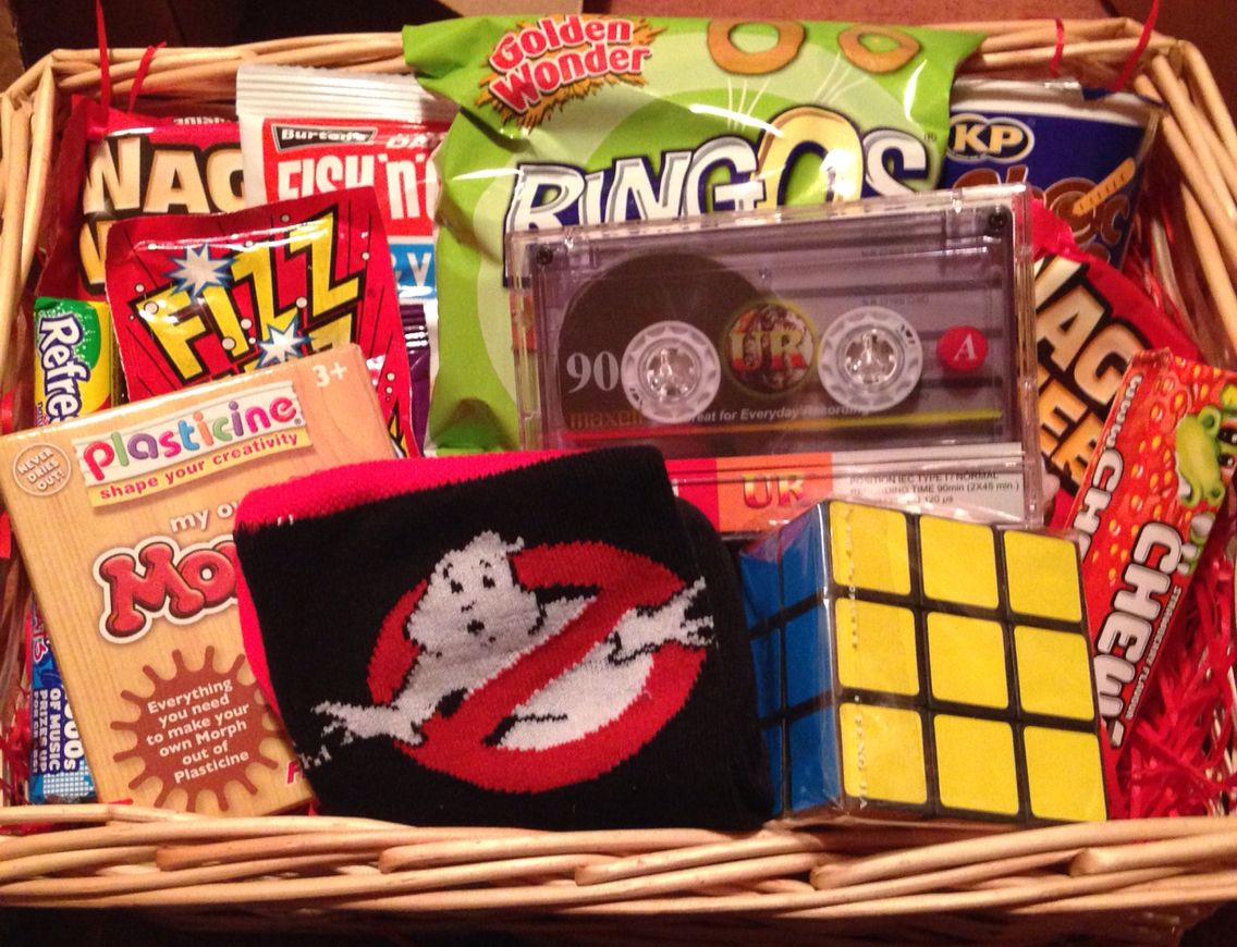 80s Retro Gift Basket Great Idea For Anyone Brought Up In 1980s Made A Few For Guys A Trending Christmas Gifts Christmas Gift Baskets Christmas Gift For Dad
