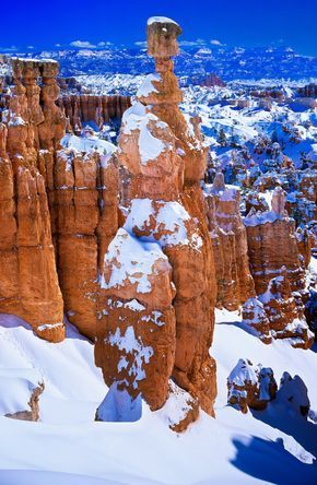 Thors Hammer Covered in Snow, Bryce Canyon National Park, Utah