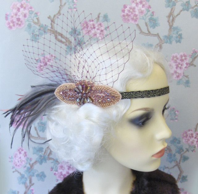 Pink feather flapper headband. £22.00