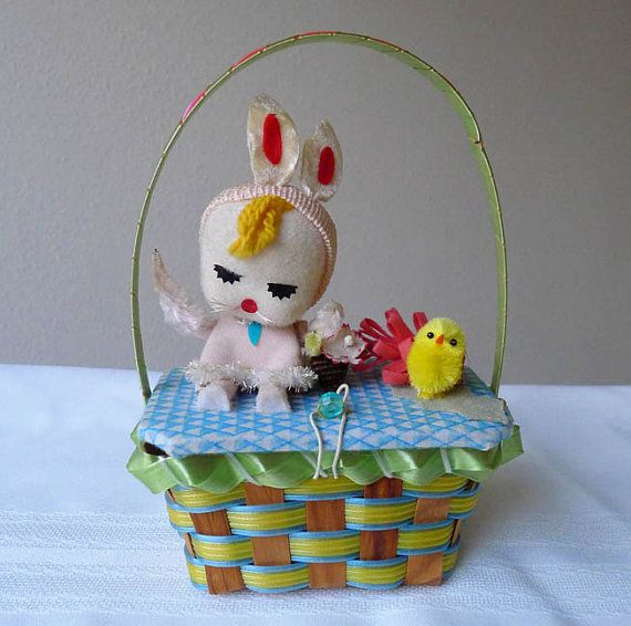 Vintage Easter Basket with Bunny Doll & Chick Japan by dollybemine, $25.00
