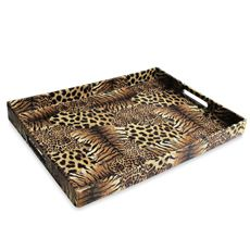 Animal Print Faux Leather Rectangular Serving Tray Bed Bath