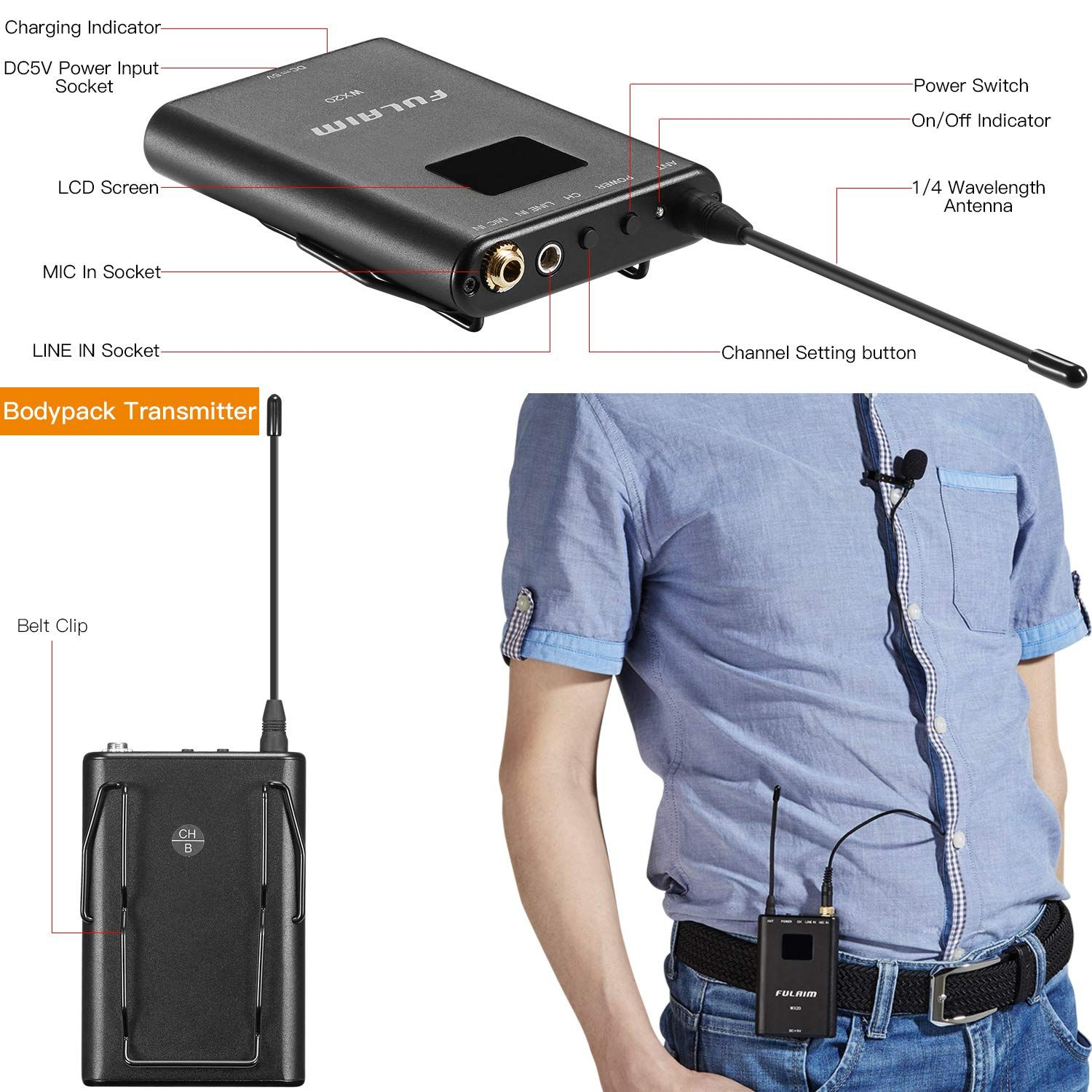 Wireless Lavalier Microphone System for iPhone DSLR