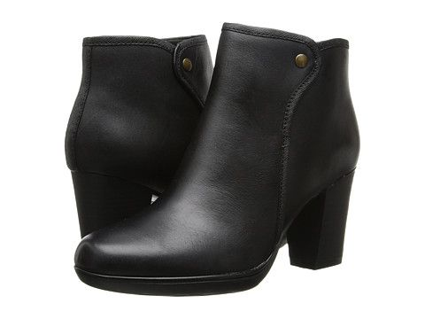 Clarks Halia Perch Black Leather - 6pm.com $68