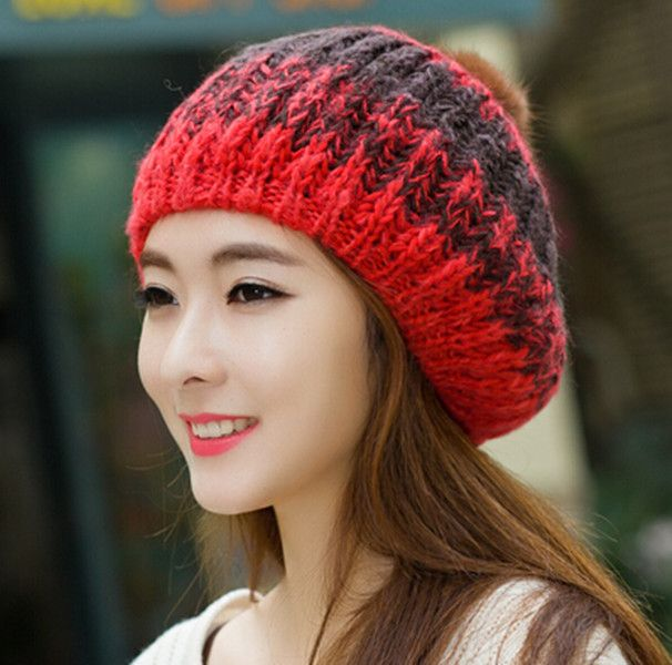Winter leisure knit hats for women with hairball beret bobble hat ...