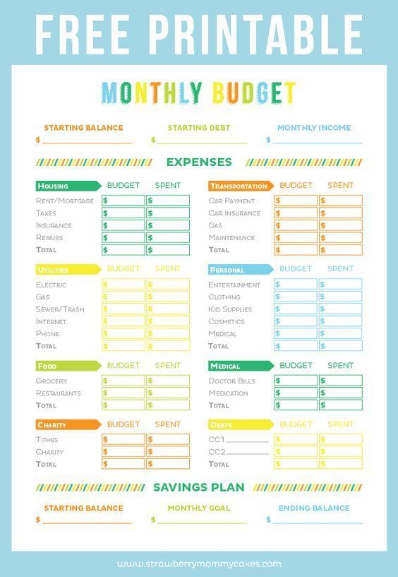 FREE Printable Budget Sheet | Pinterest