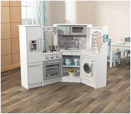 Kidkraft Ultimate Corner Play Kitchen Set White Exclusive Amazon Exclusive Wooden Play Kitchen Play Kitchen Sets Play Kitchen