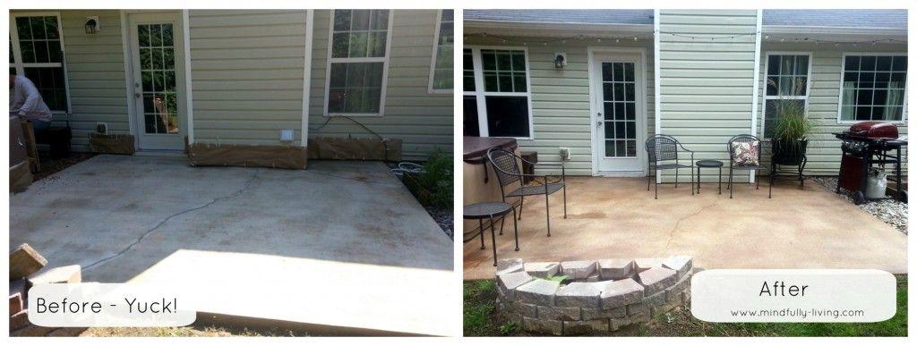 patio makeover with rustoleum concrete stain breezeway