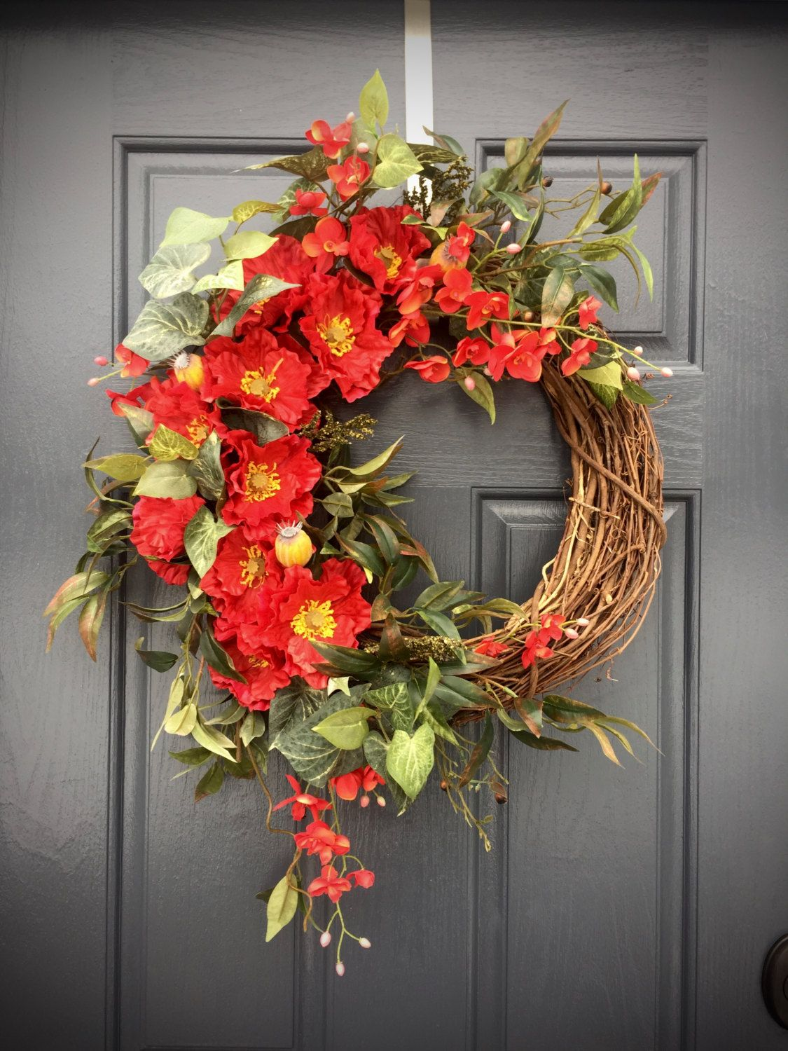 Red spring wreath red decor red door wreaths spring for 3 wreath door decoration
