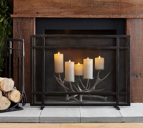 Taylor Fireplace Single Screen Candles In Fireplace Fireplace Screens Fireplace Accessories