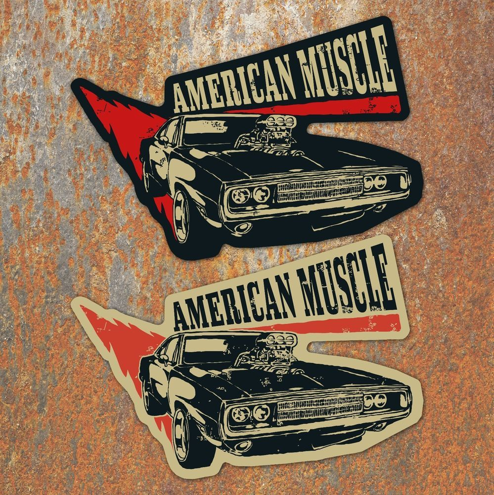 American Muscle Car Stickers X2 Custom Americana Retro Vintage