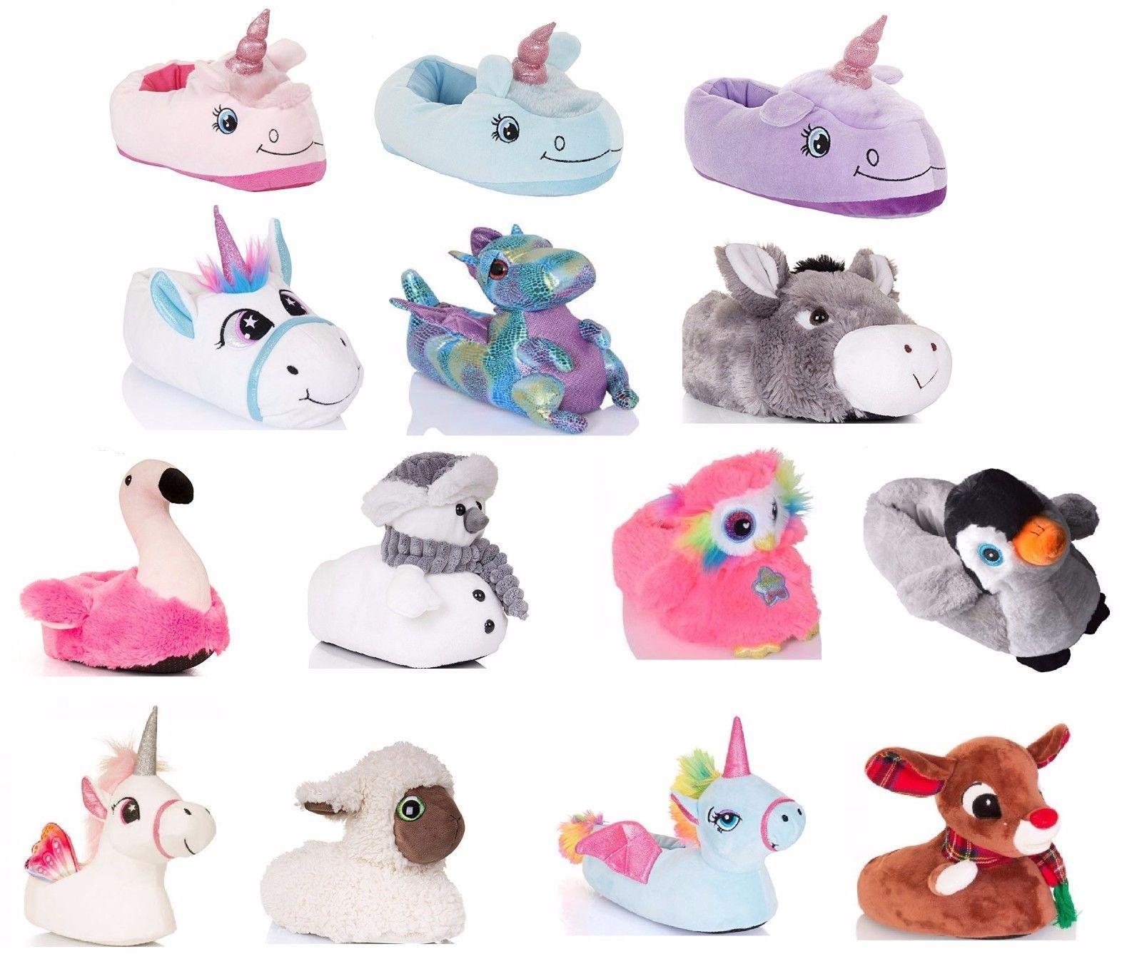 Ladies Plush Novelty Unicorn Slippers