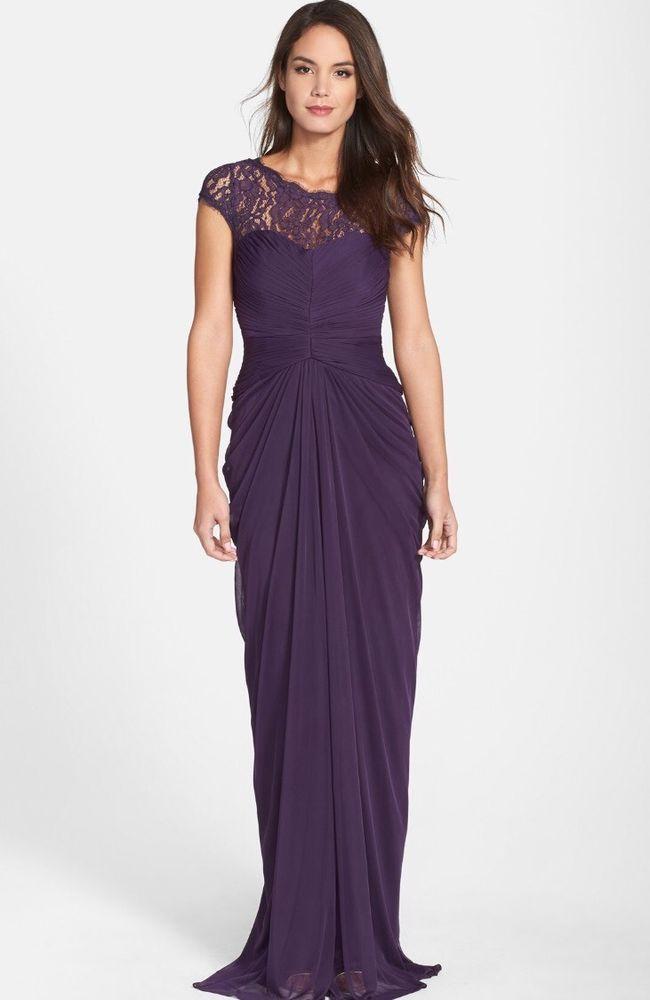 NWT $178 Adrianna Papell Lace Yoke Drape Gown Aubrigine Purple | SZ ...