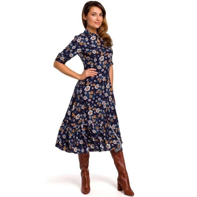 Zwiewna Sukienka Midi W Kwiaty Granatowa Wrap Dress Dresses Cold Shoulder Dress